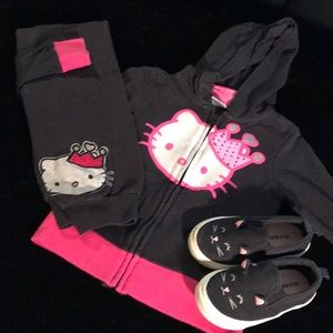 Two piece black/hot pink hoodie jogger set